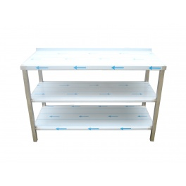 Pracovní nerezový stůl s policí (2x police), rozměr (šxhxv): 1400 x 600 x 900 mm