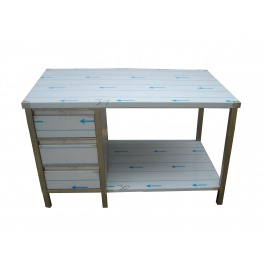 Pracovní nerezový stůl (šuplíkový box, 1x police), rozměr (šxhxv): 1300 x 600 x 900 mm