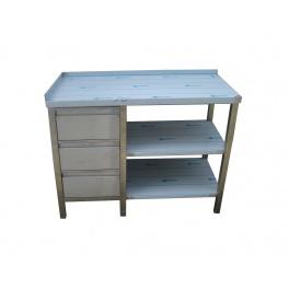 Pracovní nerezový stůl (šuplíkový box, 2x police), rozměr (d x š): 1200 x 700 x 900 mm