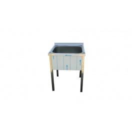 Stůl mycí nerezový jednodřezový bez police, rozměr: 700 x 600 x 900 mm, rozměr dřezu: 500 x 500 x 300 mm