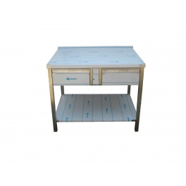 Pracovní nerezový stůl (2x šuplík, 1x police), rozměr (d x š): 1500 x 800 x 900 mm