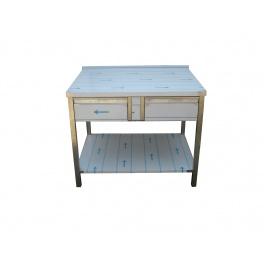 Pracovní nerezový stůl (2x šuplík, 1x police), rozměr (d x š): 1300 x 700 x 900 mm