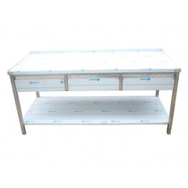 Pracovní nerezový stůl (3x šuplík, 1x police), rozměr (d x š): 1600 x 700 x 900 mm