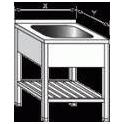 Stůl mycí nerezový jednodřezový s roštem, rozměr: 700 x 700 x 900 mm, rozměr dřezu: 500 x 500 x 300 mm