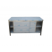 Pracovní nerezový stůl oplechovaný s posuvnými dvířky a policemi, rozměr (šxhxv): 1700 x 600 x 900 mm