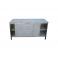 Pracovní nerezový stůl oplechovaný s posuvnými dvířky a policemi, rozměr (šxhxv): 1400 x 800 x 900 mm