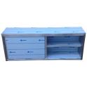 Závěsná skříňka nerezová uzavřená s posuvnými dvířky, rozměr (d x h x v): 1800 x 300 x 600 mm