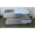 Nerezový stůl s dřezem, policí a šuplíkem s rozměry 1400 x 700 x 900 mm