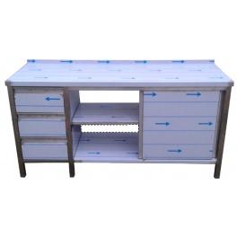 Pracovní nerezový stůl se šuplíkovým boxem, posuvnými dvířky a policemi, rozměr 1600 x 600 x 900 mm