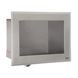 Nerezové zápustné automatické umyvadlo s integrovaným spouštěním vody a termostatickým ventilem, 24 V DC SLUN 76ET