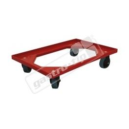 Vozík Complastec - 4 otočná gumová kolečka, červený