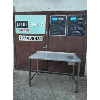 Nerezový stůl s malým dřezem. zadní lem s rozměry 1380 x 750 x 900 mm (rozměr dřezu 240 x 300 x 200 mm)
