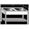 Stůl mycí dvoudřezový lisovaný, vevařovaný s roštem, rozměr vnější: 1200 x 700 x 900 mm, rozměr dřezu: 500 x 500 x 300 mm