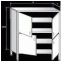 Dvojitá skříň zaplechovaná - křídlové dveře, rozměr (š x h x v): 900 x 500 x 1800 mm
