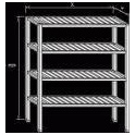 Regál nerezový - roštové police, rozměr (š x d x v): 400 x 1200 x 1800 mm