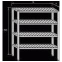 Regál nerezový - roštové police, rozměr (š x h x v): 1600 x 500 x 1800 mm